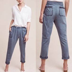 Anthropologie Bradley Chambray Trousers by Hei Hei